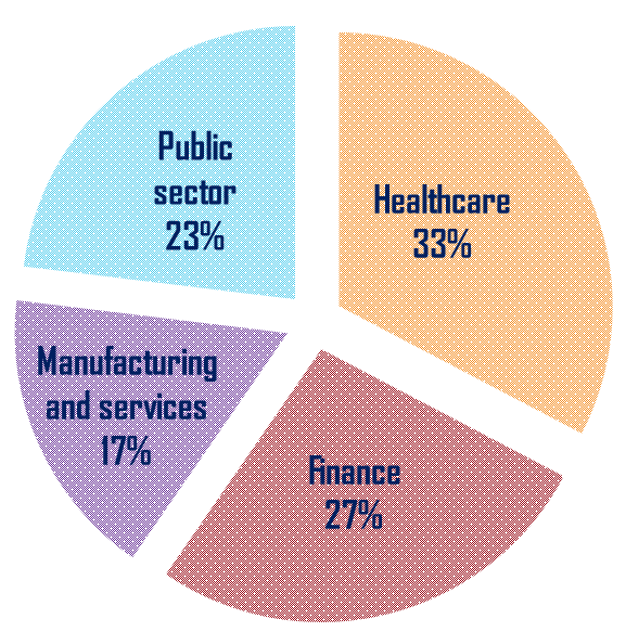 Our clients pie chart, by business sector : Healthcare 33%, Finance 27%, Public sector 23%, Manufacturing and services 17%
